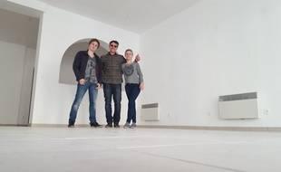 Trois des quatre créateurs de l'éphémère Carré Savoureux à Merlimont.