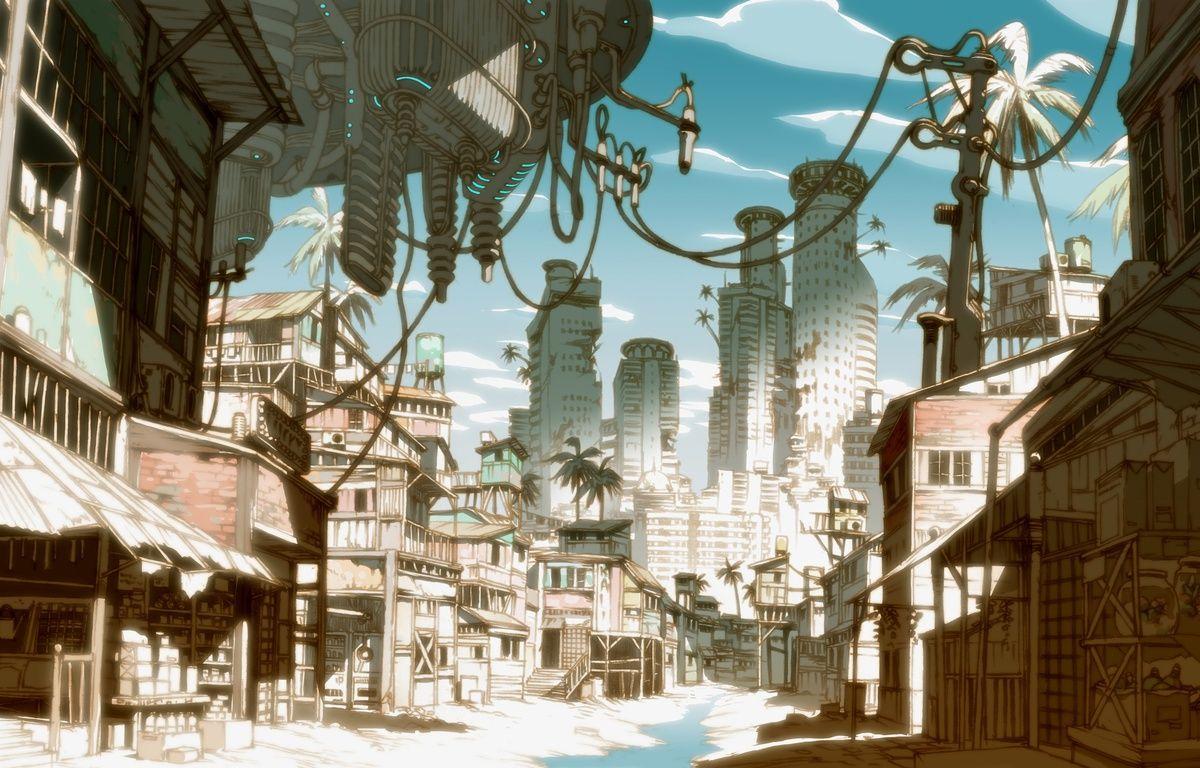 Concept art de la série japonaise «Basquash!» (2009) du studio Satelight, co-créée par Thomas Romain. – SShoji Kawamori / Thomas Romain / Satelight / Basquash! production committee / MBS
