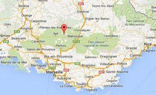 Google map de Viens, dans le Vaucluse.