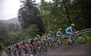 Le peloton sur la route entre Gerardmer et Mulhouse lors de la 9e étape du Tour de France, le 13 juillet 2014.