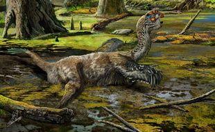 Dessin d'artiste du «Tongtianlong limosus» nouveau dinosaure découvert en Chine.