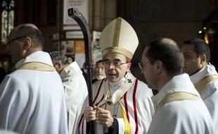 Lyon, le 3 avril 2016. Le cardinal Barbarin. Crédit : Laurent Cipriani / Sipa