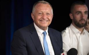 Jean-Michel Aulas lors de la présentation de Darder, le 31 août 2015 à Lyon.