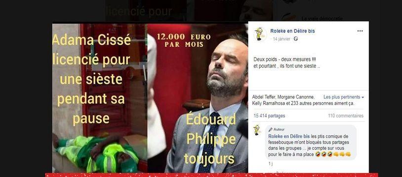 Contrairement à ce qu'indique ce post Facebook, Edouard Philippe n'était pas assoupi au moment où a été prise cette photo.