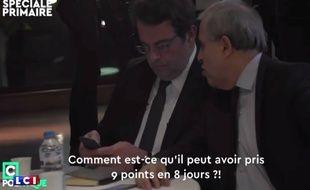 Roger Karoutchi et Thierry Solère sont plus que surpris quand ils découvrent les premièers tendances au soir du premier tour de la primaire de droite