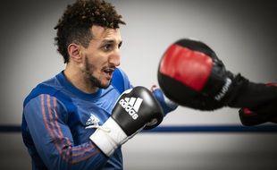 Le boxeur toulousain Sofiane Oumiha lors de sa préparation des JO de Tokyo, en février dernier.