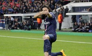 Le Parisien Edinson Cavani après le premier de ses deux buts inscrits contre l'Ajax (2-1), le 25 novembre 2014, en Ligue des champions.