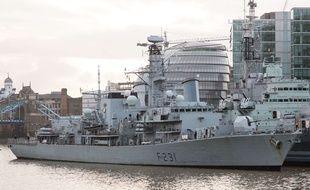 Le HMS Argyll, à Londres, le 15 janvier 2014.
