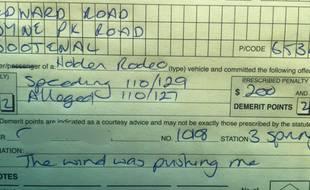 L'excuse du jour pour un excès de vitesse :