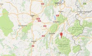 Localisation du refuge du col de Sarenne (Isère)
