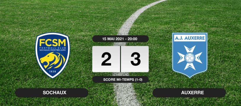 Ligue 2, 38ème journée: Auxerre s'impose au stade Auguste-Bonal 2-3 contre Sochaux