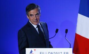 François Fillon, le 1er mars 2017, à son QG de campagne parisien.