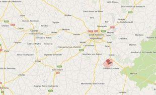Capture d'écran Google map de Magnac Lavalette, en Charente.