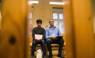 Des migrants au tribunal de Szeged, le 16 septembre 2015 en Hongrie