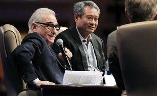 Martin Scorsese en compagnie du réalisateur Ang Lee lors du CinemaCon, le 25 avril 2012 à Las Vegas.