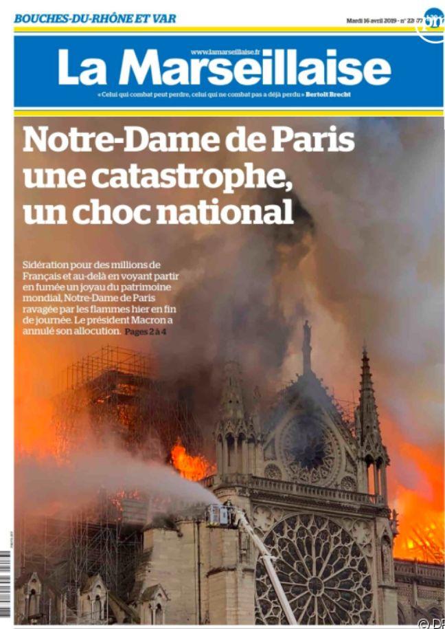 Une du 16/04/19 du journal La Marseillaise