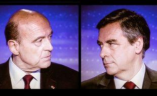 Montage : Francois Fillon et Alain Juppé lors du débat télé durant la primaire à droite, le 17 novembre 2016.