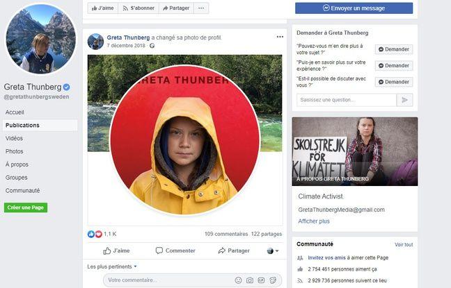 La première photo de profil adoptée par la page Facebook Greta Thunberg, le 7 décembre 2018.