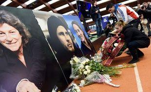 Un hommage à Florence Arthaud, Camille Muffat et Alexis Vastine le 11 mars 2015 à l'Insep.