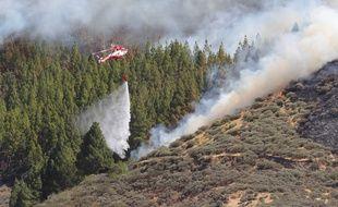 Un hélicoptère combat un incendie de forêt aux Canaries, le 10 août 2019.