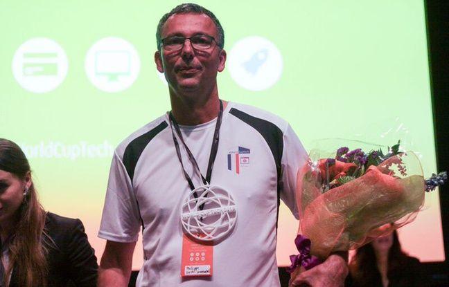 Philippe Laval, fondateur de Evercontact,à San Francisco, lors d'un concours de pitch qu'il a remporté