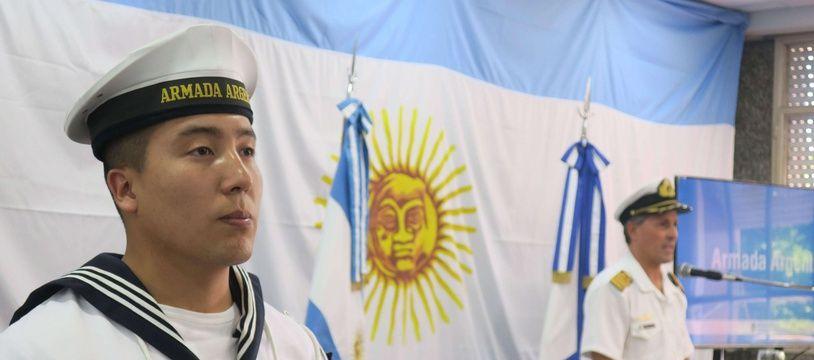 Un porte-parole de la Marine argentine lors d'une conférence de presse à Buenos Aires, le 4 décembre 2017.