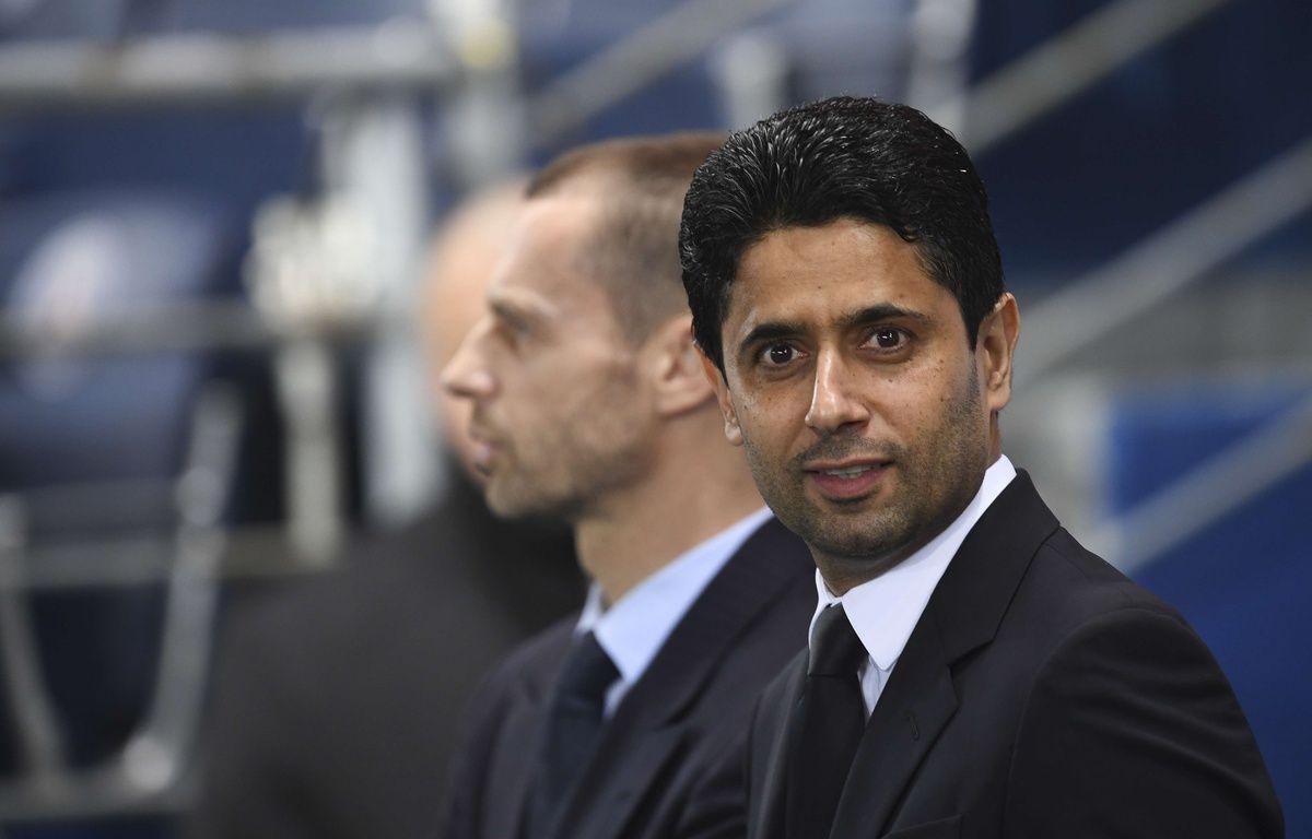 Le président Nasser al Khelaifi lors du match PSG-Barcelone, en 8e de finale aller de Ligue des champions, le 8 mars 2017.  – JOHN SPENCER/SIPA