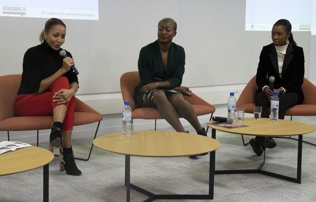 Le 3 décembre 2019, à Paris, la championne olympique et du monde de boxe Estelle Mossely à la Kedge Business School pour une conférence avec Antoinette Nana Djimou et Grace Geyoro sur la place des femmes dans le sport de haut niveau.