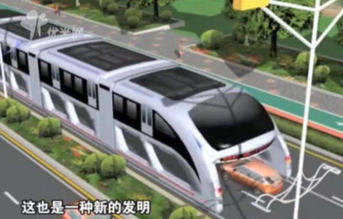 """Capture d'écran de la vidéo de présentation du """"straddling bus"""", concept présenté en mai dernier lors du salon High-Tech de Pékin – DR"""