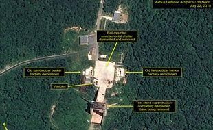 Vue satellite du site lancement de satellites de Sohae en Corée du Nord, le 22 juillet 2018.