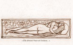 Détail de la pochette de l'album «La Belle enchantée» de Tri Yann, illustré d'une œuvre de Georges Lacombe.