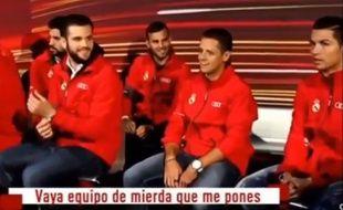 Capture d'écran d'une vidéo montrant Ronaldo en train d'insulter ses coéquipiers après un petit jeu organisé par un sponsor du Real Madrid, le 1er décembre 2014.