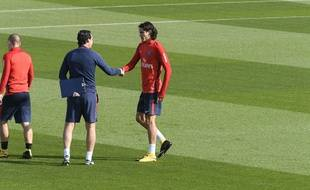Unai Emery et Edinson Cavani à l'entraînement du PSG, le 21 septembre 2017.