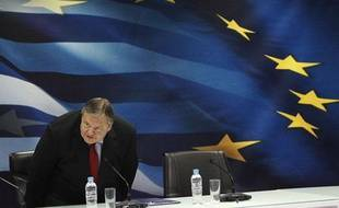 Le ministre des Finances grec, Evangelos Venizelos, lors d'une conférence de presse à Athènes, le 23 juin 2011.