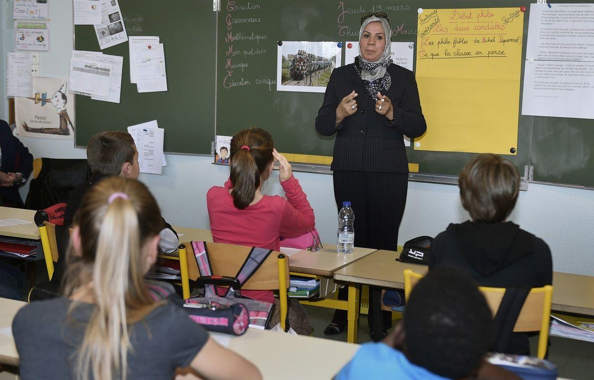 Latifa Ibn Ziaten, lors d'une intervention dans un établissement scolaire de Haute-Garonne, en 2015. – PASCAL PAVANI / AFP