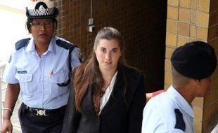 Aurore Gros-Coissy arrive à la Cour d'appel de Maurice à Port-Louis le 30 janvier 2015
