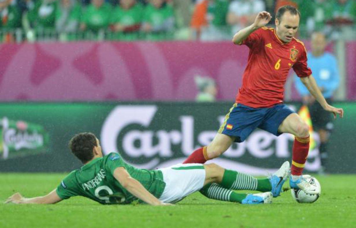 L'Espagnol Andres Iniesta contre l'Irlande, le 14 juin 2012 à Gdansk. – G.Bouys / AFP