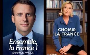 Les nouvelles affiches de campagne pour le second tour de l'élection présidentielle opposant Marine Le Pen et Emmanuel Macron.