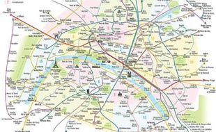 La carte d'Antoine Raby présente les arrondissements et parcs de Paris.