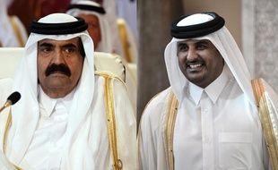A gauche, l'ex-émir du Qatar Hamad ben Khalifa al-Thani ; à droite son successeur et propre fils, Tamim ben Hamad al-Thani.