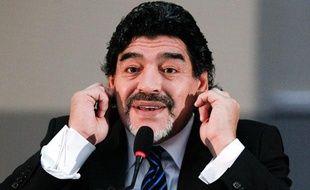 Diego Maradona lors de son passage à Naples le 26 février 2013.