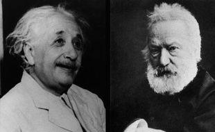 Albert Einstein montre son profil droit, Victor Hugo son profil gauche.
