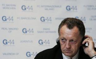 Jean-Michel Aulas lors d'une réunion du G14 à Bruxelles le 13 novembre 2007.