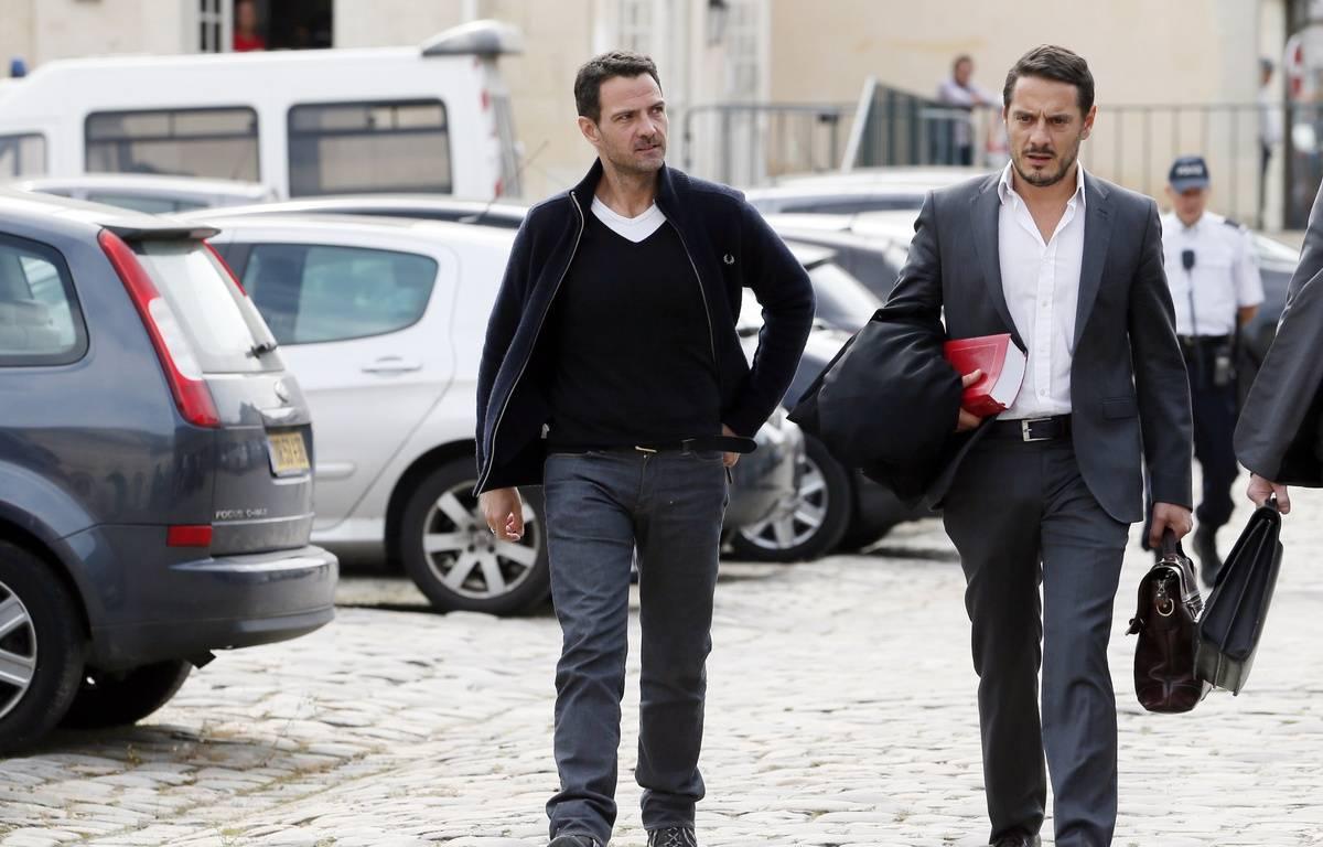 Versailles, le 17 septembre 2014. Jérôme Kerviel arrive à la cour d'appel avec son avocat David Koubbi. – PATRICK KOVARIK / AFP