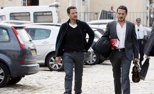 Versailles, le 17 septembre 2014. Jérôme Kerviel arrive à la cour d'appel avec son avocat David Koubbi.