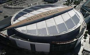 Vue aérienne du Staples Center à Los Angeles.