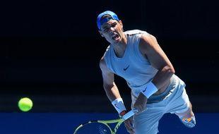 Rafael Nadal à l'entraînement à l'Open d'Australie, le 11 janvier 2019.