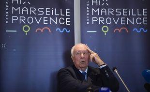 Jean-Claude Gaudin, lors de l'annonce de sa démission de la métropole d'Aix Marseille Provence.