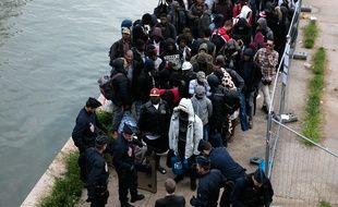 Evacuation de migrants au campement du Millénaire, fin mai 2018. (Illustration)