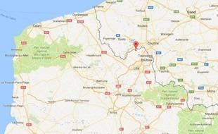 Localisation de Wervicq-Sud, au nord de l'agglomération lilloise